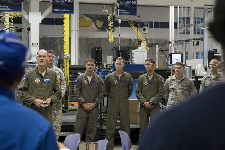 Col. Jefferson O'Donnell, 366th Fighter Wing commander, addresses defense contractor employees during a factory tour, Aug. 3, 2017, in St. Louis, Mo. O'Donnell was able to thank the emplyees for all of their hard work in supporting national defense. (U.S. Air Force photo by Senior Airman Jeremy L. Mosier)
