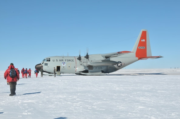 Scientists who had been living at the East Greenland Ice Core Project, Greenland, for about six weeks board a 109th Airlift Wing LC-130 Skibird headed for Kangerlussuaq, Greenland July 29, 2017. That was the 13th mission the 109th Airlift Wing made to East GRIP this season to transport cargo and scientists.  (U.S. Air National Guard photo by Master Sgt. Catharine Schmidt/Released)