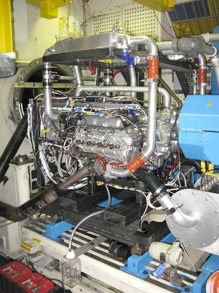 The recent testing for the Graflight V-8, a high-efficiency, diesel engine designed and produced by Engineered Propulsion Systems, has brought about the reopening of the AEDC T-11 engine test cell at Arnold Air Force Base. Prior to this test, T-11 had not been testing in about a decade. Pictured here is the EPS Graflight V-8 engine in the T-11 test cell. (AEDC photo)