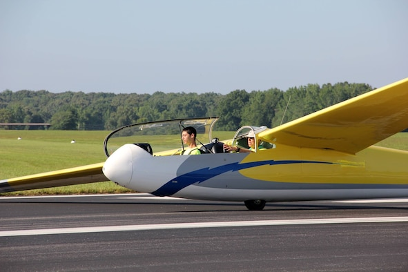 One of the 20 cadets who participated in the South East Region (SER) National Civil Air Patrol (CAP) Glider Academy prepares for takeoff at the Tullahoma Municipal Airport. The academy, hosted by Beechcraft Heritage Museum, was held July 8-14. Pictured in back instructing the flight is Jere Matty, Arnold Air Force Base Science, Technology, Engineering and Mathematics Education Outreach Specialist. (Courtesy photo)