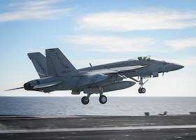 "PACIFIC OCEAN (March 19, 2017) An F/A-18E Super Hornet assigned to the ""Argonauts"" of Strike Fighter Squadron (VFA) 147 launches from the aircraft carrier USS Nimitz (CVN 68). The ship is underway conducting a composite training unit exercise with its carrier strike group in preparation for an upcoming deployment. (U.S. Navy photo by Mass Communicaiton Specialist Seaman Ian Kinkead/Released)"