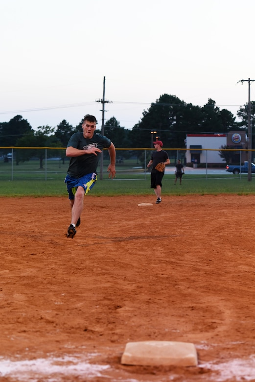 A National League team member runs for third base during the 2017 Softball All-Star Day game Aug. 3, 2017, at Little Rock Air Force Base, Ark. The National League beat the American League in a close match. (U.S. Air Force photo by Senior Airman Mercedes Taylor)