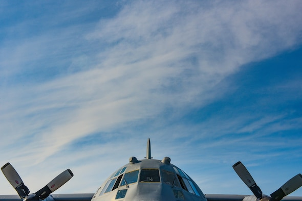 A U.S. Air Force C-130 Hercules assigned to the 757th Airlift Squadron, Youngstown, Ohio, awaits main engine start-up, at Joint Base Langley-Eustis, Virginia, August 1, 2017.