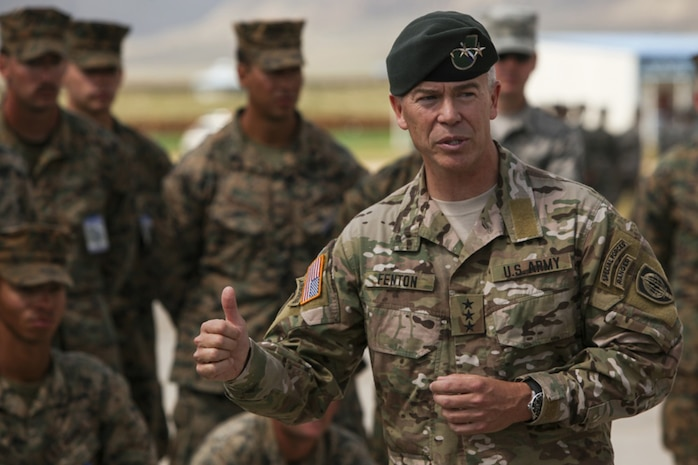 U.S. Army Lt. Gen Bryan P. Fenton speaks to U.S. Armed Forces service members at the closing ceremony of Exercise Khaan Quest 2017 at Five Hills Training Area, Mongolia, August 5, 2017. Khaan Quest 2017 is a Mongolian-hosted, combined, joint training exercise designed to strengthen the capabilities of the U.S., Mongolia and other partner nations in international peacekeeping operations.