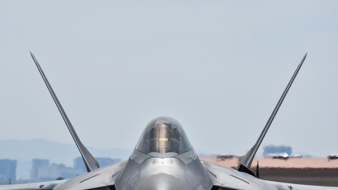 An F-22 Raptor from the 95th Fighter Squadron at Tyndall Air Force Base, Fla., powers up before takeoff at Nellis Air Force Base, Nev., during Red Flag 17-3 July 18, 2017. The mission of the 95th FS is to provide air dominance for America, and Red Flag ensures pilots are trained and equipped to project unrivaled combat air power.