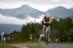 A cyclist takes off from the starting line at Moose Run Golf Course at Joint Base Elmendorf-Richardson, Alaska, Aug. 3, 2017. For more than 15 years, the club has hosted road race events at JBER.