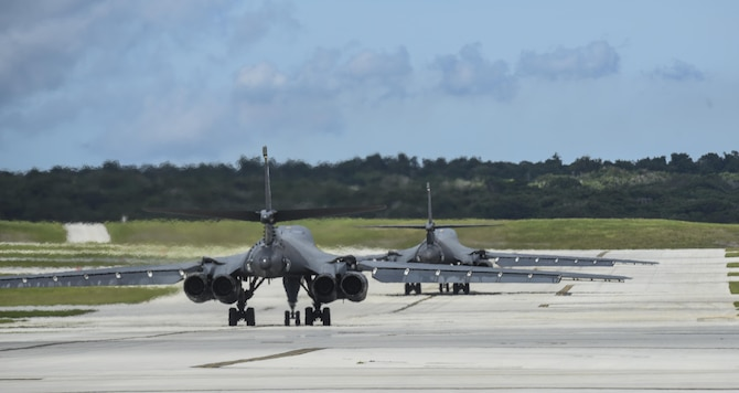 Two U.S. Air Force B-1B Lancers assigned to the 37th Expeditionary Bomb Squadron, deployed from Ellsworth Air Force Base, South Dakota, prepare to take off from Andersen Air Force Base, Guam, for a 10-hour mission, flying in the vicinity of Kyushu, Japan, the East China Sea, and the Korean peninsula, Aug. 7, 2017 (HST). During the mission, the B-1s were joined by Japan Air Self-Defense Force F-2s as well as Republic of Korea Air Force KF-16 fighter jets, performing two sequential bilateral missions. These flights with Japan and the Republic of Korea (ROK) demonstrate solidarity between Japan, ROK and the U.S. to defend against provocative and destabilizing actions in the Pacific theater. (U.S. Air Force photo/Tech. Sgt. Richard P. Ebensberger)