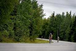 The Arctic Bicycle Club hosted a 10-mile time-trial race at the Moose Run Country Club at Joint Base Elmendorf-Richardson, Alaska, Aug. 3, 2017. For more than 15 years, the club has hosted road race events at JBER.