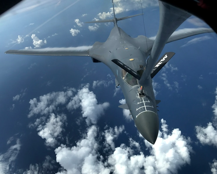 A U.S. Air Force B-1B Lancer assigned to the 37th Expeditionary Bomb Squadron, deployed from Ellsworth Air Force Base, South Dakota, refuels during a 10-hour mission mission from Andersen Air Force Base, Guam, flying in the vicinity of Kyushu, Japan, the East China Sea, and the Korean peninsula, August 8, 2017. During the mission, the B-1s were joined by Japan Air Self-Defense Force F-15s as well as Republic of Korea Air Force F-15s, performing two sequential bilateral missions. These flights with Japan and the Republic of Korea (ROK) demonstrate solidarity between Japan, ROK and the U.S. to defend against provocative and destabilizing actions in the Pacific theater. (U.S. Air Force photo/Airman 1st Class Gerald Willis)