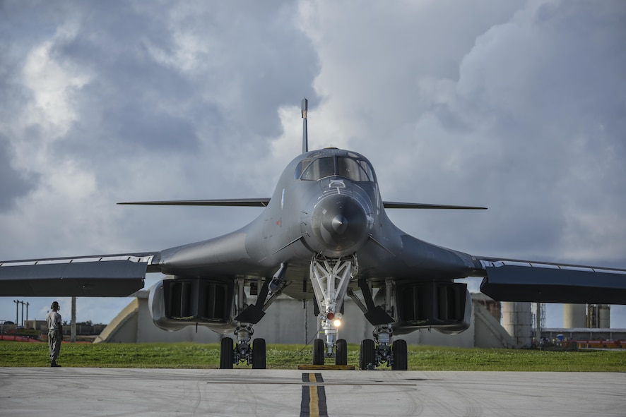 A U.S. Air Force B-1B Lancer assigned to the 37th Expeditionary Bomb Squadron, deployed from Ellsworth Air Force Base, South Dakota, prepares to take off from Andersen Air Force Base, Guam, for a 10-hour mission, flying in the vicinity of Kyushu, Japan, the East China Sea, and the Korean peninsula, Aug. 8, 2017. During the mission, the B-1s were joined by Japan Air Self-Defense Force F-15s as well as Republic of Korea Air Force F-15s, performing two sequential bilateral missions. These flights with Japan and the Republic of Korea (ROK) demonstrate solidarity between Japan, ROK and the U.S. to defend against provocative and destabilizing actions in the Pacific theater. (U.S. Air Force photo/Tech. Sgt. Richard P. Ebensberger)