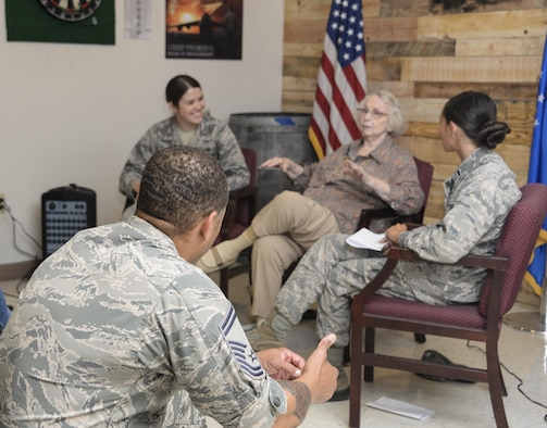 Beverly Sterling, one of the first females to join the U.S. Air Force, speaks to members of the 60th Maintenance Squadron during a lunch and learn event, August 1, 2017 at Travis Air Force Base, Calif. Ms. Bev shared stories about her experiences joining the Air Force in 1951 and how she played a key role in shaping Air Force culture today. (U.S. Air Force photo / 2nd Lt. Sarah Johnson)