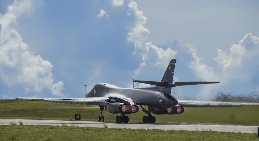 A U.S. Air Force B-1B Lancer assigned to the 37th Expeditionary Bomb Squadron, deployed from Ellsworth Air Force Base, South Dakota, takes off from Andersen Air Force Base, Guam, for a 10-hour mission, flying in the vicinity of Kyushu, Japan, the East China Sea, and the Korean peninsula, Aug. 7, 2017 (HST). During the mission, two B-1s were joined by Japan Air Self-Defense Force F-15s as well as Republic of Korea Air Force KF-16 fighter jets, performing two sequential bilateral missions. These flights with Japan and the Republic of Korea (ROK) demonstrate solidarity between Japan, ROK and the U.S. to defend against provocative and destabilizing actions in the Pacific theater. (U.S. Air Force photo/Tech. Sgt. Richard P. Ebensberger)