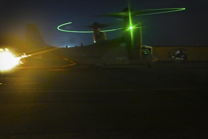 An MV-22B Osprey with 3rd Marine Aircraft Wing (MAW), returns to the flightline after conducting a battalion insert of infantry Marines from 5th Marine Regiment, 1st Marine Division, during exercise Summer Fury at Naval Air Facility El Centro, Calif., Aug. 4. Summer Fury, a weeklong training evolution, tested several squadrons within 3rd MAW on the skills required of them during a combat deployment. (U.S. Marine Corps photo by Sgt. Kimberlyn Adams/Released)