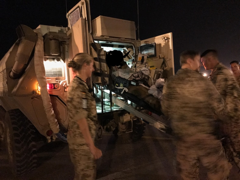 One of seven U.S. Army Soldiers who were wounded in a rocket propelled grenade attack is loaded into an MRAP ambulance at Mazar-i-Sharrif, Afghanistan June 17, 2017. The Soldiers were flown to Craig Joint Theater Hospital at Bagram Airfield, Afghanistan where they underwent 12 hours of trauma care. They were later flown to Germany by a C-17 Globemaster III from Travis Air Force Base, Calif. (Courtesy Photo) (This image was edited for patient privacy)