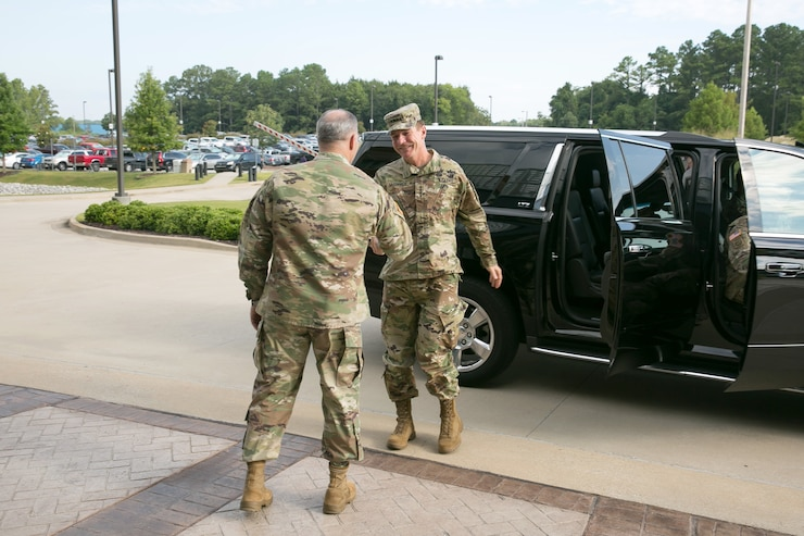 U.S. Army Vice Chief of Staff Gen. James McConville is welcomed by Gen. Gus Perna to the Army Materiel Command headquarters at Redstone Arsenal, Alabama, Aug. 3, 2017.  This marks McConvile's first visit to AMC as the VCSA.