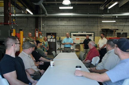Gene Scholler, director of logistics for the U.S. Army Reserve's 99th Regional Support Command, addresses employees August 8 at Area Maintenance Support Activity 112 in Lock Haven, Pennsylvania.  AMSA 112's mission is to maintain readiness by providing field-level maintenance support to six assigned Army Reserve units within its region, provide training to unit personnel and prepare equipment for mobilization.