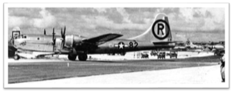 """The B-29 Superfortress """"Enola Gay"""" dropped the first atomic bomb, dubbed """"Little Boy,"""" during the attack on Hiroshima, Japan, during World War II on August 6, 1945. On August 15, 1945, less than a week after the atomic bombings, Japan announced its surrender to the Allied Forces and then formally signed their surrender on September 2, 1945, aboard a U.S. Navy battleship, the USS Missouri (BB-63). (Courtesy Photo)"""