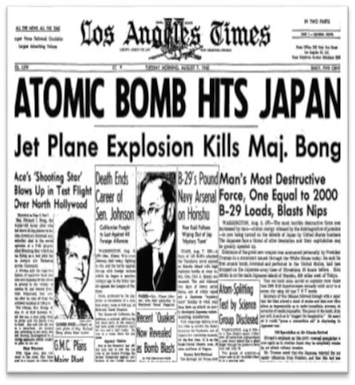 """The B-29 Superfortress """"Enola Gay"""" dropped the first atomic bomb, dubbed """"Little Boy,"""" during the attack on Hiroshima, Japan, during World War II on August 6, 1945. On August 6, the same day as the bombing of Hiroshima, Maj. Richard Ira Bong, a former Lockhead P-38 Lightning pilot and Medal of Honor recipient was killed when the Lockhead P-80 Shooting Star he was piloting during a test flight exploded midflight. Fairchild AFB's """"Bong Street,"""" was named in honor of him. (Courtesy Photo)"""