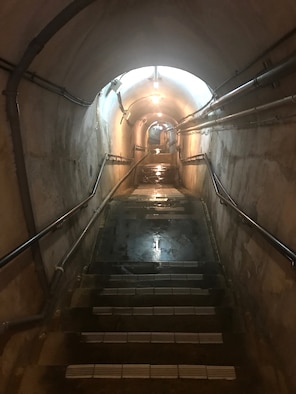 Stairs leading down to underground tunnels in Japan