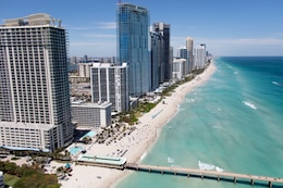 A critically eroded area on both sides of the pier will be renourished with 20,000 cubic yards of sand on each side. A total of 140,000 cubic yards of beach-quality sand will be trucked in from an upland sand mine and placed on the shoreline during the Sunny Isles Beach shoreline renourishment project.