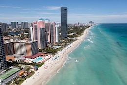 Beach renourishment at north end of Sunny Isles Beach