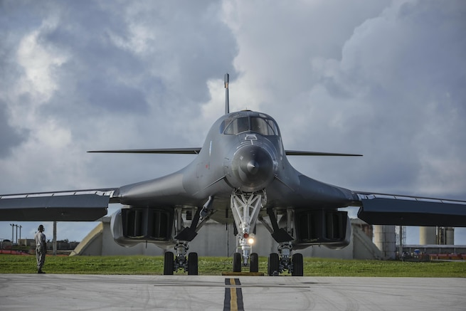 U.S. Air Force B-1B Lancer assigned to the 37th Expeditionary Bomb Squadron, deployed from Ellsworth Air Force Base, South Dakota, prepares to take off from Andersen Air Force Base, Guam, for a 10-hour mission, flying in the vicinity of Kyushu, Japan, the East China Sea, and the Korean peninsula, Aug. 8, 2017. During the mission, the B-1s were joined by Japan Air Self-Defense Force F-15s as well as Republic of Korea Air Force F-15s, performing two sequential bilateral missions. These flights with Japan and the Republic of Korea (ROK) demonstrate solidarity between Japan, ROK and the U.S. to defend against provocative and destabilizing actions in the Pacific theater.