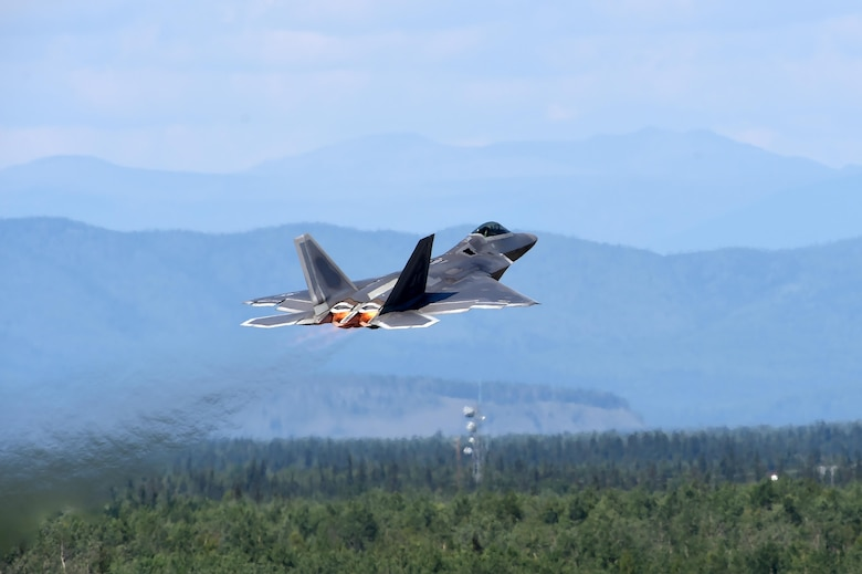 A U.S. Air Force F-22 Raptor takes off for training during exercise Arctic ACE, Alaska, July 17, 2017. The first of its kind, Arctic ACE was designed to exercise Pacific Air Force's Agile Combat Employment concept of operations, or ACE, by concurrently conducting fifth-generation fighter operations from a main operating base and a forward, austere operating base.