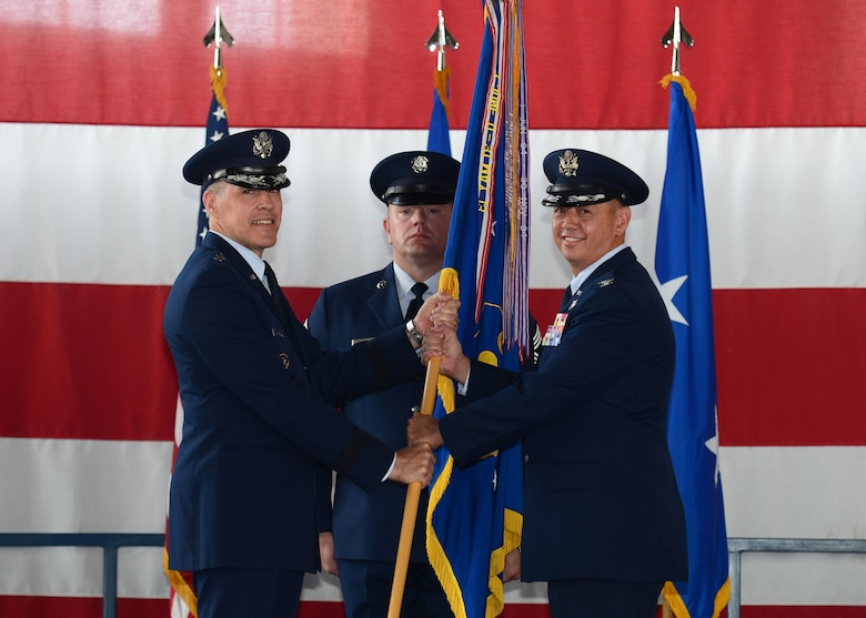 Col. John R. Edwards assumes command of the 28th Bomb Wing during a change of command ceremony at Ellsworth Air Force Base, S.D.