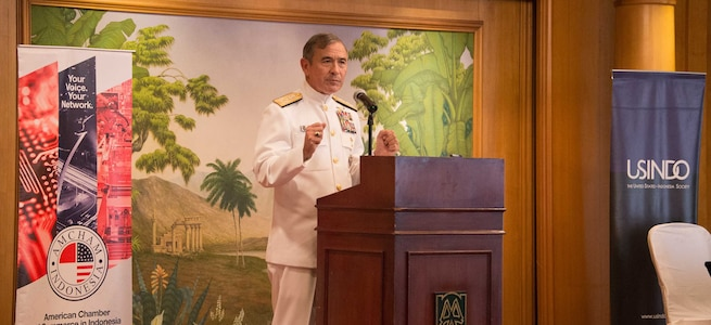 ADM Harry Harris, Commander U.S. Pacific Command, speaks to attendees of the U.S. Indonesia Society & American Chamber of Commerce at Jakarta Indonesia, Aug. 7, 2017.  This is Harris' first visit to Indonesia.