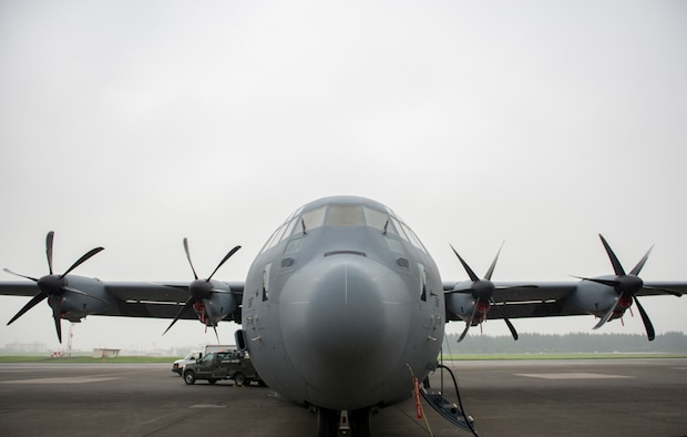 A C-130J Super Hercules sits on the flight line at Yokota Air Base, Japan, Aug. 10, 2017. This is the fourth new C-130J delivered to Yokota from the Lockheed Martin facility. The new C-130J is quieter during takeoff, 14% faster, can travel 1,287 km further, and can carry 4,090 kg more than its predecessor the C-130H Hercules. (U.S. Air Force photo by Airman 1st Class Donald Hudson)
