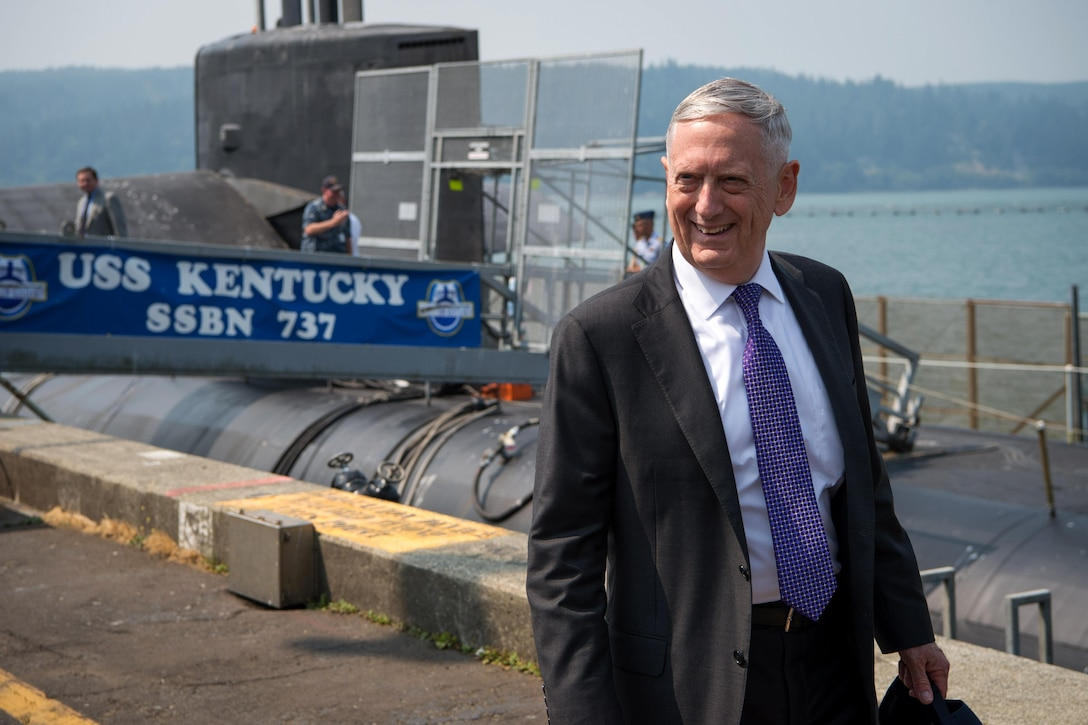 Defense Secretary Jim Mattis views a submarine.