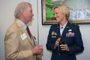 Brig. Gen. Heather Pringle, 502nd Air Base Wing and Joint Base San Antonio commander, speaks with John Williams, Universal City mayor, prior to the presentation of the Altus Trophy at the San Antonio Chamber of Commerce Aug. 8, 2017. The trophy is presented annually by the AltusChamber of Commerce, located in Altus, Oklahoma, to a community judged to have shown outstanding support to an AETC base. (Air Force photo by Senior Airman Krystal Wright)