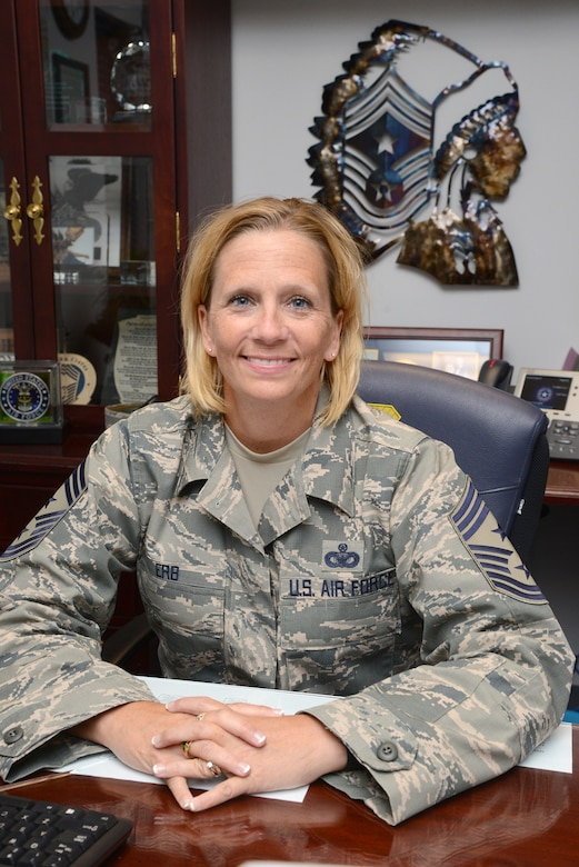 Chief Master Sgt. Melissa Erb, command chief for the 72nd Air Base Wing, joins the ABW after nearly 26 years with Security Forces.