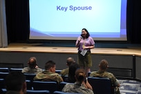 Meg Vernal, a U.S. Strategic Command (USSTRATCOM) key spouse, provides information on USSTRATCOM's Key Spouse program during command familiarization at Offutt Air Force Base, Neb., Aug. 8, 2017. The function of a key spouse is to convey information to spouses of military and civilian USSTRATCOM members so they can effectively connect with Offutt Air Force Base and local communities.
