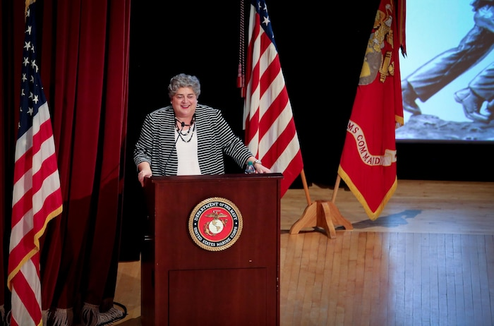 Ms. Allison Stiller, acting secretary of the Navy for Research, Development and Acquisition, gives a keynote address during the 2017 Acquisition Excellence Awards, hosted by Marine Corps Systems Command Aug. 8, aboard Marine Corps Base Quantico, Virginia. MCSC holds the event annually to recognize members of the Marine Corps acquisition workforce for outstanding performance during the previous fiscal year. (U.S. Marine Corps photo by Jennifer Sevier)