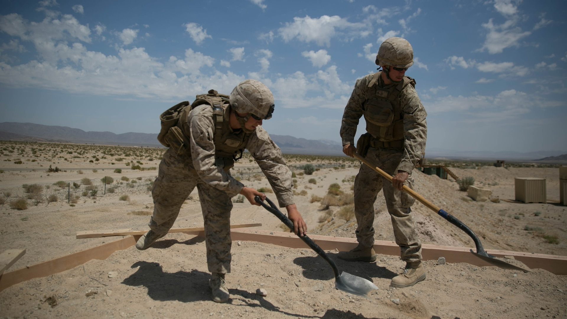 Marines with the engineer platoon for Marine Wing Support Squadron 272, construct an observation post aboard the Combat Center during Integrated Training Exercise 5-17, July 29, 2017. MWSS-272 is supporting the Aviation Combat Element of the ITX. The ACE conducts offensive, defensive, and all other air operations to support the MAGTF mission .