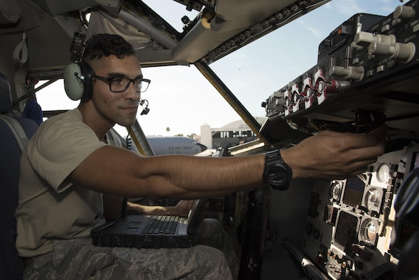 U.S. Air Force Senior Airman Steven Parras, an integrative flight control systems technician assigned to the 6th Aircraft Maintenance Squadron, practices troubleshooting the Block 45 system on the KC-135 Stratotanker aircraft at MacDill Air Force Base, Fla., August 9, 2017. The Block 45 system is a modern upgrade to the old aircraft that allows them to be more reliable and compatible to air traffic navigation. (U.S. Air Force photo by Airman 1st Class Ashley Perdue)