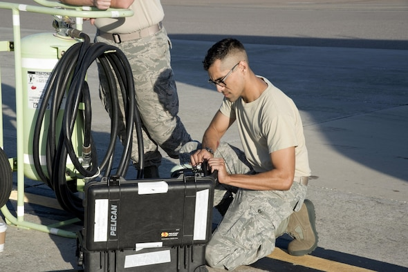 U.S. Air Force Senior Airman Steven Parras, an integrative flight control systems technician assigned to the 6th Aircraft Maintenance Squadron, begins setting up for a Block 45 training on the KC-135 Stratotanker aircraft at MacDill Air Force Base, Fla., August 9, 2017. This course allows aircraft personnel to get hands-on experience with the new digital system that is replacing the current analog systems that have been on the aircraft for over 50 years. (U.S. Air Force photo by Airman 1st Class Ashley Perdue)