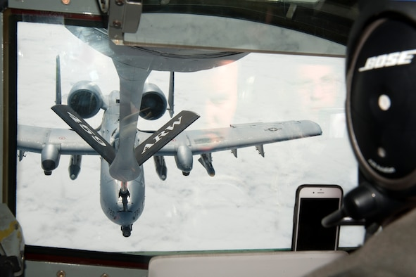Technical Sgt. Steve Hood, 756th Air Refueling Squadron boom operator, refuels a 175th Wing Maryland Air National Guard A-10C Thunderbolt II.