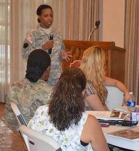 Col (Dr.) Joni Johnson, an expert in childhood learning for children with autism, Attention Deficit Hyperactivity Disorder and other childhood disorders, provides participants her insight into how to better understand the unique needs of exceptional family members. Johnson is a pediatrician, medical director and founder of Pediatric Partners for Attention and Learning and was a featured guest speaker during the U.S. Army 5th Recruiting Brigade, Quality of Life training event that took place at the Alamo in downtown San Antonio from July 31 to Aug 3. The training event focused on understanding the Army's Exceptional Family Member Program and learning how to help Soldiers and their families become more resilient through a strategy that provides education and techniques that help exceptional children thrive.