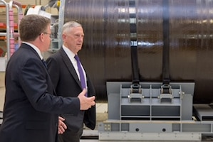 Defense Secretary Jim Mattis tours the Strategic Weapons Facility Pacific Missile Assembly Building.