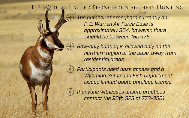The upcoming archery-only pronghorn hunt will begin at F.E. Warren Air Force Base, Wyo., on Aug. 15, 2017.