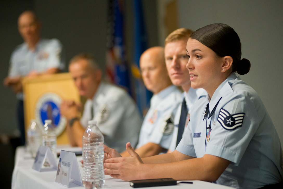 Staff Sgt. Lacey K. Miller, the Air National Guard Outstanding Airman of the Year, responds to a question during a panel discussion at the Chiefs' Executive Course. The panel was   part of Focus on the Force Week, a series of events highlighting the importance of professional development for Airmen at all levels, and the recognition of accomplishments throughout the enlisted corps. (U.S. Air National Guard photo by Master Sgt. Marvin R. Preston)