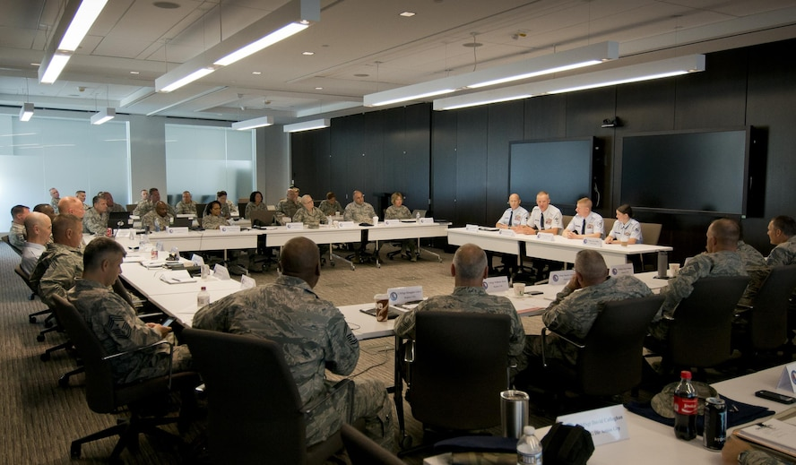 Members of the Air National Guard's Enlisted Field Advisory Council hear from the ANG's 2016 Outstanding Airmen of the Year during a panel discussion held August 9, 2017 at the ANG Readiness Center on Joint Base Andrews, Md. The council is composed of ANG command chief master sergeants who address challenges and roadblocks faced by the enlisted corps, and engineer solutions. (U.S. Air National Guard photo/Master Sgt. Marvin Preston)