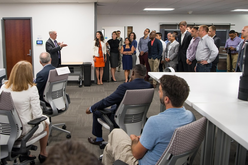 Defense Secretary Jim Mattis speaks with members of the Defense Innovation Unit Experimental (DIUx) in Mountain View, Calif., Aug. 10, 2017. DoD photo by Air Force Staff Sgt. Jette Carr