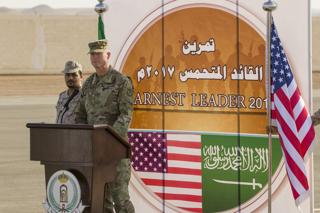 Maj. Gen. Terrence J. McKenrick, US Army Central deputy commanding thanks the Royal Saudi Land Forces for their generosity in his remarks during the Earnest Leader 17 closing ceremony held in the Kingdom of Saudi Arabia on August 10, 2017. The purpose of the Earnest Leader 17 exercise was  to enhance interoperability and strengthen U.S. and Royal Saudi Land Forces military-to-military relationships. (U.S. Army photo by Master Sgt. Mark Hanson)