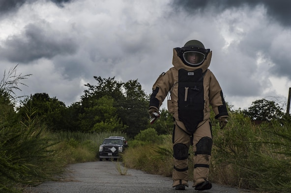 Staff Sgt. Aaron D'Angelo from the 11th Civil Engineer Squadron, explosive ordinance disposal technician, participates in a exercise scenario during Operation Llama Fury 3.0 at Joint Base Langley-Eustis, Va., Aug. 8, 2017. During the first phase of OLF 3.0, teams of EOD Airmen endured quality assurance evaluations, where they were evaluated on different simulated scenarios, as well as their job specific skills and equipment familiarity. (U.S. Air Force photo/Staff Sgt. J.D. Strong II)