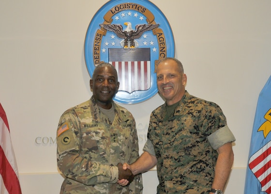 Facing viewer, Army general and Marine general in fatigues, shaking hands; DLA seal in background and flags on either side.