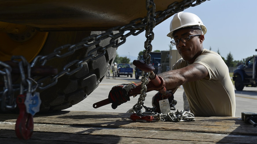 Senior Airman Isaiah Smith, 31st Civil Engineer Squadron water fuels system journeyman, loosens a forklift restraint during a staged emergency scenario Aug. 3, 2017, at Aviano Air Base, Italy. The 31st Fighter Wing conducted a week-long readiness inspection July 31 through Aug. 4, 2017, at Aviano Air Base, Italy, to test the wing's readiness and emergency response capabilities. (U.S. Air Force photo by Senior Airman Cary Smith)