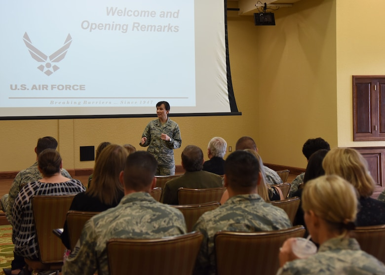 Col. Debra Lovette, 81st Training Wing commander, delivers welcoming remarks during the Air Force Community Partnership Program Ideas Workshop at the Bay Breeze Event Center July 27, 2017, on Keesler Air Force Base, Miss. The program administrators are working to leverage military and local community capabilities and resources to achieve mutual value and benefit in support of the Air Force and its business partners. (U.S. Air Force photo by Kemberly Groue)